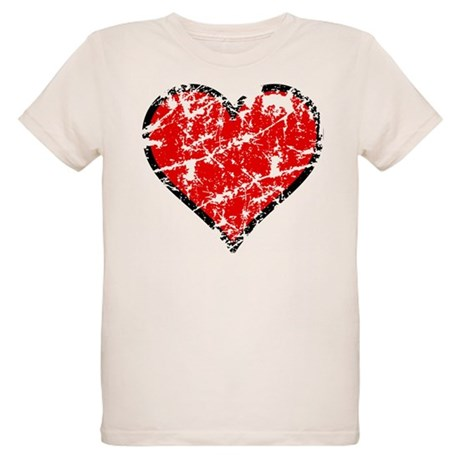 Red Grunge Heart Organic Kids T-Shirt