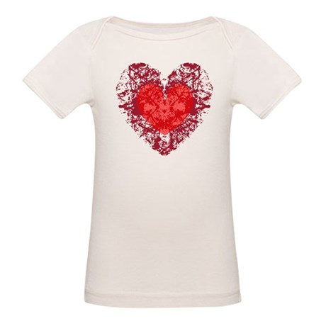 Red Grunge Heart Organic Baby T-Shirt