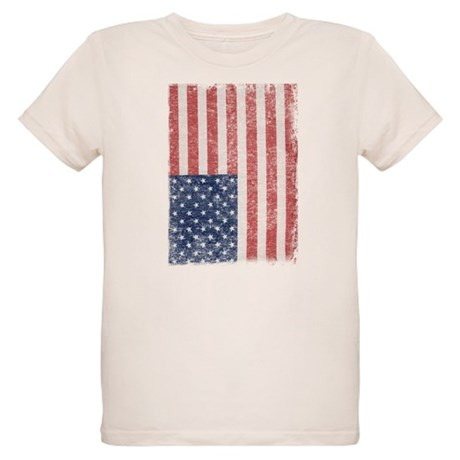 Distressed American Flag Organic Kids T-Shirt