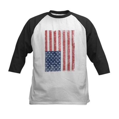 Distressed American Flag Kids Baseball Jersey