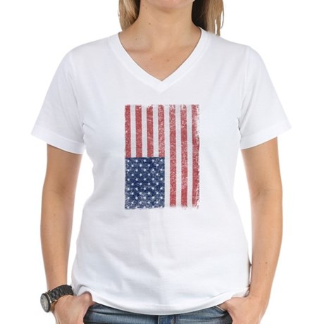 Distressed American Flag Womens V-Neck T-Shirt