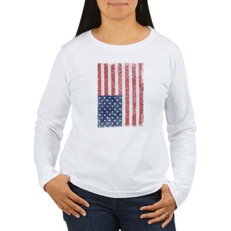 Distressed American Flag Womens Long Sleeve T-Shi