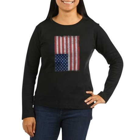 Distressed American Flag Womens Long Sleeve Dark
