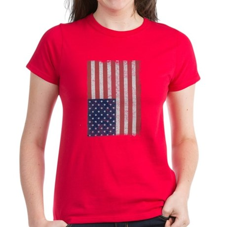 Distressed American Flag Womens T-Shirt