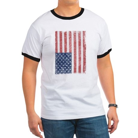 Distressed American Flag Ringer T