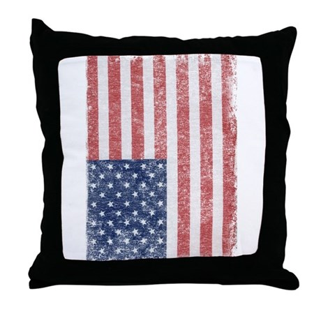 Distressed American Flag Throw Pillow