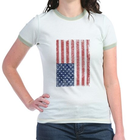 Distressed American Flag Jr Ringer T-Shirt