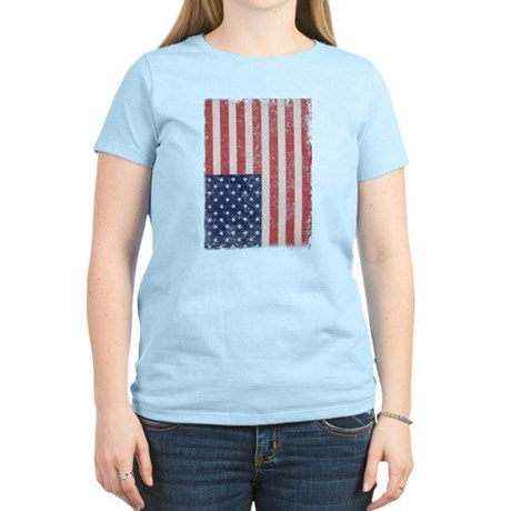 Distressed American Flag Womens Light T-Shirt