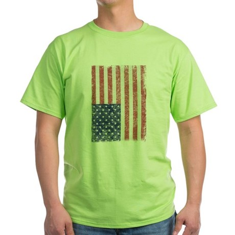 Distressed American Flag Green T-Shirt