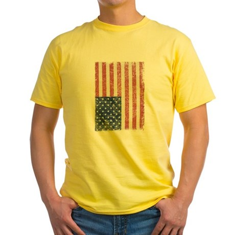 Distressed American Flag Yellow T-Shirt