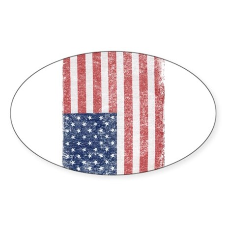 Distressed American Flag Oval Sticker
