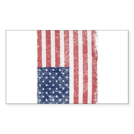 Distressed American Flag Rectangle Sticker