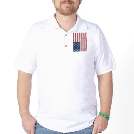 Distressed American Flag Golf Shirt