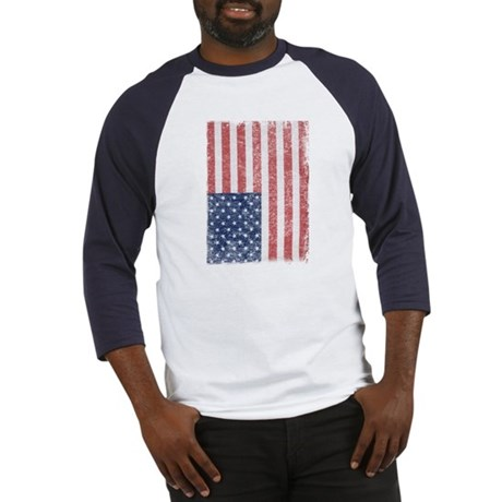 Distressed American Flag Baseball Jersey
