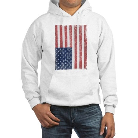 Distressed American Flag Hooded Sweatshirt