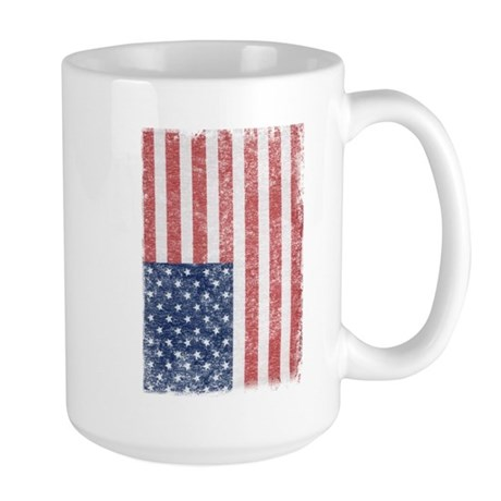 Distressed American Flag Large Mug