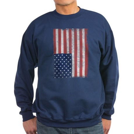 Distressed American Flag Dark Sweatshirt