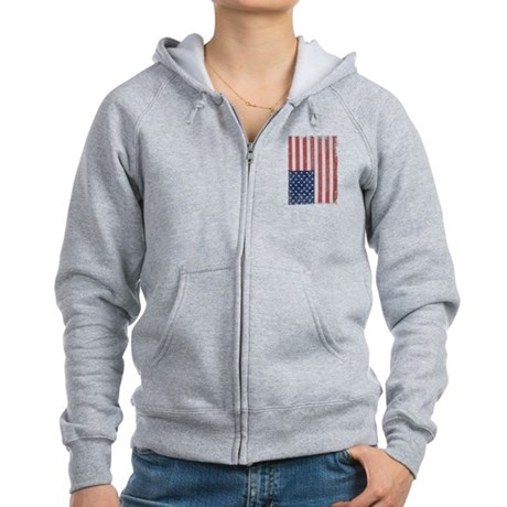 Distressed American Flag Womens Zip Hoodie