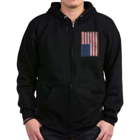 Distressed American Flag Zip Dark Hoodie