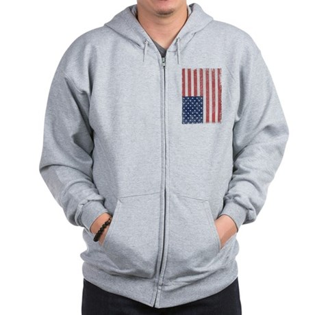 Distressed American Flag Zip Hoodie