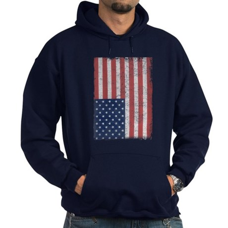 Distressed American Flag Dark Hoodie