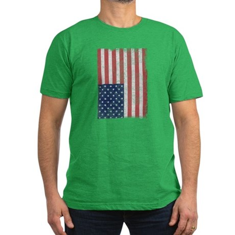 Distressed American Flag Mens Fitted Dark T-Shirt
