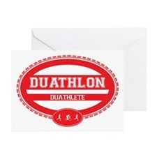 Duathlon Red Oval-Women's Duathlete Greeting Cards