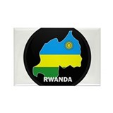 Flag Map of Rwanda Rectangle Magnet