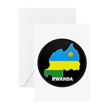 Flag Map of Rwanda Greeting Card