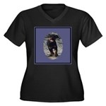 Romping Rottweiler Puppy Women's Plus Size V-Neck