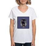 Romping Rottweiler Puppy Women's V-Neck T-Shirt