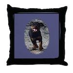 Romping Rottweiler Puppy Throw Pillow