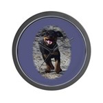 Romping Rottweiler Puppy Wall Clock