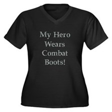 Cute My mom wears combat boots Women's Plus Size V-Neck Dark T-Shirt