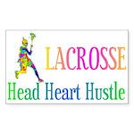 Lacrosse Head Heart Hustle Rectangle Sticker