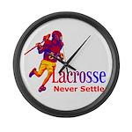 Lacrosse Never Settle Large Wall Clock