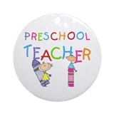 Crayons Preschool Teacher Ornament (Round)