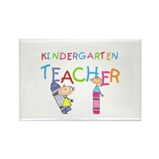 Crayons Kindergarten Teacher Rectangle Magnet