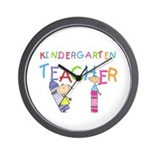 Crayons Kindergarten Teacher Wall Clock