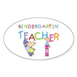 Crayons Kindergarten Teacher Oval Sticker (10 pk)