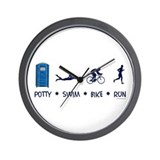Men's Potty Swim Bike Run Wall Clock