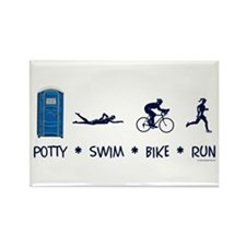 Women's Potty Swim Bike Run Rectangle Magnet