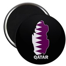 Flag Map of Qatar Magnet