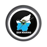 Flag Map of San Marino Wall Clock
