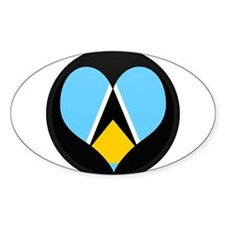 I love Saint Lucia Flag Oval Decal