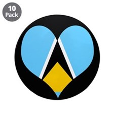 "I love Saint Lucia Flag 3.5"" Button (10 pack)"