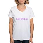 Magenta Jesus Loves Me Women's V-Neck T-Shirt