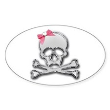 Chrome skull with bow Oval Decal