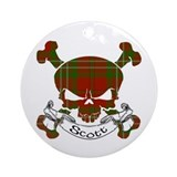 Scott Tartan Skull Ornament (Round)