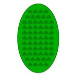 Shamrocks On Light Green Oval Sticker